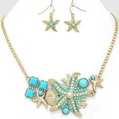Chunky Bib Blue Starfish Gold Chain Earring Necklace Set Fashion Costume Jewelry | eBay