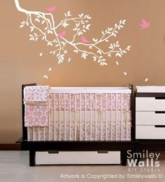 Kids Nursery Vinyl Wall Decal Branch and Birds - GIFT BIRDS - Vinyl Wall Decal,Sticker,Nature Design Kids nursery decal baby room decor. $49.00, via Etsy.