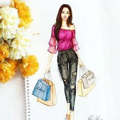 Tag your shopping buddy and let them know it's time to shop for all the New Arrivals!! Where do you prefer shopping - malls, street, online?? Btw, I can shop nonstop for hours, finding out the best deals and great bargains!! ️ #fashionillustration #letsgoshopping #artwork