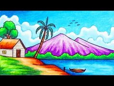 How to draw easy and simple scenery for beginners with oil pastels. Drawing a scenery of seaside scenery step by step. How to draw easy scenery. How to draw . Drawing Pictures For Kids, Scenery Drawing For Kids, Art Drawings For Kids, Pictures To Draw, Nature Pictures, Oil Pastel Drawings Easy, Colorful Drawings, Easy Drawings, Sketch Pen Drawing