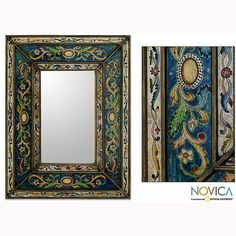 With its traditional Peruvian design, this rectangular decorative wall mirror adds the sense of distant lands to any room. Crafted with a hand-painted frame, the mirror is designed to hang vertically and includes a mallet for easy installation. Wood Framed Mirror, Mirror Tiles, Wall Mirror, Framing Mirrors, Moroccan Design, Painting Frames, Home Crafts, Picture Frames, Art Pieces
