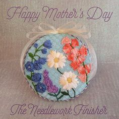 Kirk & Bradley needlepoint flowers with ribbon embroidery