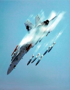 "US Navy - F-18 Super Hornet or the ""Bug""...sick near vertical practice bombing run."