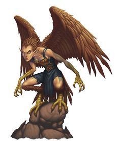Copyright: Wizards Of The Coast/Dungeons and Dragons For Edition Wizards wanted the new Harpy design to be more beautiful. Female Monster, Monster Art, Fantasy Creatures, Mythical Creatures, Dungeons And Dragons, Flying Monsters, Dnd Monsters, Humanoid Creatures, Fantasy Races