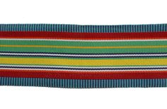 Unique wide striped grosgrain ribbon of green, red and yellow stripes edged with denim blue and green horizontal stripes for edging fabrics and more UK Wide Stripes, Yellow Stripes, Fabric Factory, Free Fabric Swatches, Striped Fabrics, Grosgrain Ribbon, Blue Denim, Lime, Bright
