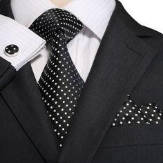 NEW Pink Polka Dot Dotted Black Tie NeckTie