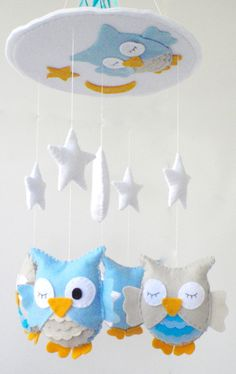 Mobile - Nursery Mobile- Babybett Mobil Kinderzimmer Dekor - ein Designerstück von lapetitemelina bei DaWanda