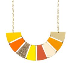 Our Sunseeker Necklace is ideal for ladies who love the warmer climes! It's made from 8 laser cut acrylic charms in different colours and finishes and it hangs between a chunky plated chain. Laser Cut Jewelry, Acrylic Charms, Laser Cut Acrylic, Cat Necklace, Handmade Items, Handmade Gifts, Statement Jewelry, Laser Cutting, Jewels