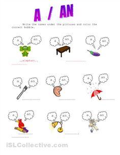 A or An Worksheet | Homeschooling | Pinterest | Worksheets, Teaching ...