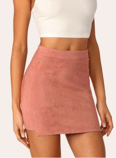 To find out about the Cut-and-sew Stepped Side Suede Skirt at SHEIN, part of our latest Skirts ready to shop online today! Romwe, Spandex, Winter Date Night Outfits, Outfit Night, Outfit Winter, Outfit Summer, Fashion News, Fashion Outfits, Trendy Outfits