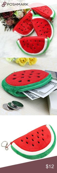 Cute Watermelon Coin Purse Cute and soft watermelon coin purse or bag. Great for holding money or cosmetics ! Soft to the touch and made out of 100% Plush ! Size is about 15 cm x 9 cm . Accessories