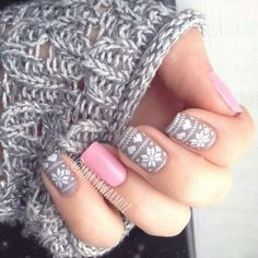 Beautiful lace themed nail art in white, periwinkle and baby pink color combination.