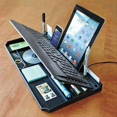 Keyboard-Organizer - Computer Keyboard with Drawer; Desktop Keyboard with Storage-solutions Universidad Ideas, Gadgets Techniques, Accessoires Ipad, Gadgets Électroniques, Electronics Gadgets, Kitchen Gadgets, Cheap Gadgets, Fitness Gadgets, Cool Tech Gadgets