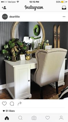 Dear Lillie: Holiday Housewalk 2016 Bought this mirror for the dining room from Wayfair. Home Bedroom, Bedroom Decor, Master Bedroom, Gold Framed Mirror, Progressive Dinner, Dear Lillie, Glam Room, Black Walls, Modern Country