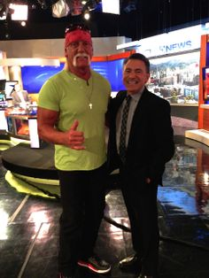 You never know who you'll run into at a TV station. It's Hulk Hogan! No injuries were reported.