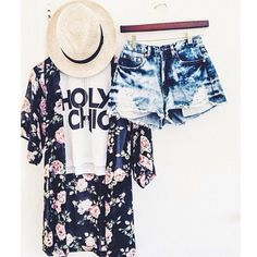 silk floral cordigan with washed high waisted shorts