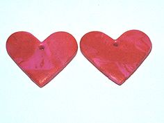Pink and Red Polymer Clay Heart Pendants by gagirljewelryandgift, $2.00