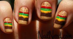 Cheeseburger nails!! So cute!