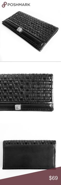 Brighton woven leather black checkbook wallet Super chic! No trades. All photos are my own of the actual item. All prices are flexible, send me an offer! Brighton Bags Wallets