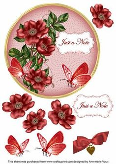 Red Wild Rose Just a Note 7in Circle Decoupage Topper on Craftsuprint - Add To Basket!