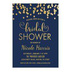 Confetti Bridal Shower Invitation | Navy & Gold - shower gifts diy customize creative