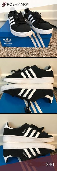 452a693a88b25 Adidas Campus Sneaker Adidas Campus Sneaker in black suede with white  details.  Purchased in
