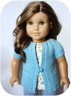 """Pip Round Yoke Cardigan With Pockets - PDF Knitting Pattern For 18"""" American Girl Dolls - doll clothes pattern"""