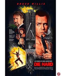 Die Hard by Michael Gambriel Action Movie Poster, Best Movie Posters, Classic Movie Posters, Movie Poster Art, Best Action Movies, Good Movies, Action Films, Cindy Crawford Photo, Film Poster Design