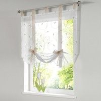 Roman shade European embroidery style tie up window curtain kitchen curtain voile sheer tab top window brand curtains cortinas Roman Curtains, Curtains With Blinds, Kitchen Curtains, Drapes Curtains, Roman Blinds, Valances, Blinds Diy, Bedroom Curtains, Diy Bedroom
