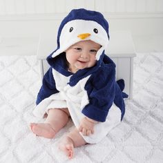 Blue/white/silver 0-9 Months Reputation First Baby Aspen Little Prince Hooded Spa Robe