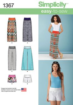 Simplicity Patterns: 1367 - Misses' Slim Maxi Skirt, Pants & Shorts.  Misses skirts & pants have knit roll-up yoke for stylish comfort and fit. Maxi skirt has side slit, pants can be made wide or narrow, shorts with or without overlay - featured here with a lace overlay.