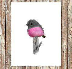 Baby bird painting pink robin bird robin bird baby by fluffibee Watercolor Bird, Watercolor Paintings, Original Paintings, Robin Bird, Bird Wall Art, Bird Drawings, Bird Prints, Decoupage, Illustration Art