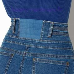 Add elastic to jeans waist. Could be for too tight pants or even for . - Add elastic to jeans waist. Could work for too tight pants or even for those … - Diy Jeans, Sewing Jeans, Recycle Jeans, Sewing Clothes, Jeans Pants, Sewing Shorts, Dress Sewing, Jeans Dress, Sewing Hacks