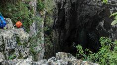 Sótano de huahuas, entrada, San Luis Potosí méxico, rapel