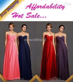 Wholesale Affordable Hot Sale Sweetheart Floor Length Back Zipper Bra Inside Pleats Ruffle Chiffon Turquoise Blue Coral Pink Cheap Bridesmaid Dresses, Free shipping, $84.55/Piece | DHgate