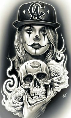 The Beautiful & Blessed - Top 500 Best Tattoo Ideas And Designs For Men and Women Gangster Tattoos, Chicano Art Tattoos, Chicano Drawings, Kunst Tattoos, Skull Tattoos, Tattoo Drawings, Body Art Tattoos, Sleeve Tattoos, Art Drawings
