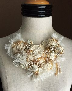 SWEET CREAM Ivory Beaded Textile Lace Bridal Necklace