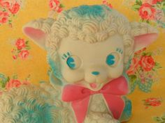 Adorable vintage Baby Lamb Squeak Toy..cute for Easter