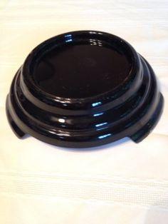 """Large Vtg Black Amethyst Glass """"Oriental Vase"""" Footed Base Stand Pedestal"""
