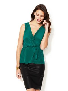 Gathered Wrap Front Silk Blouse by The Letter on Gilt.com