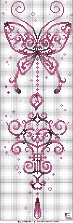 [십자수도안] 나비 / 봄이네핸드메이드 : 네이버 블로그 - papillon violet point de croix