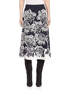 St. John Intarsia Floral Knit Skirt
