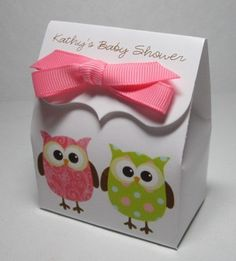 Choice of personalized baby shower favor boxes - owl owls