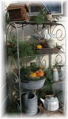Bakers Rack Fall Full View This I Change Out A Few Times For The Year It Sits On My Patio Is Of