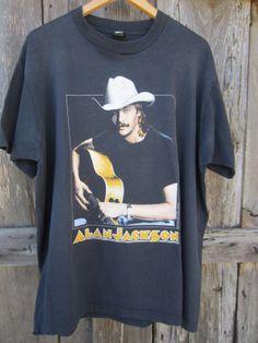 1991 Alan Jackson Band T-Shirt, XL-XXL // 90s Don't Rock the Jukebox T-Shirt // Vintage Black Screen Stars Best T-Shirt