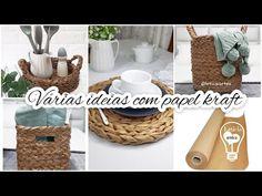 IDEIAS FÁCEIS E LINDAS COM PAPEL KRAFT - YouTube Crafts To Make, Youtube, Picnic, Place Cards, Basket, Diy, Place Card Holders, Crafty, Kraft Paper