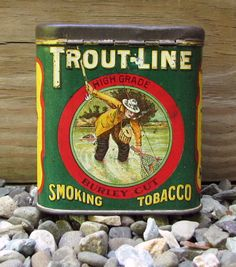 would love to have this tin trout line smoking tobacco vintage tin