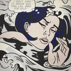 """Drowning Girl  Roy Lichtenstein (American, 1923–1997)    1963. Oil and synthetic polymer paint on canvas, 67 5/8 x 66 3/4"""" (171.6 x 169.5 cm). Philip Johnson Fund (by exchange) and gift of Mr. and Mrs. Bagley Wright"""