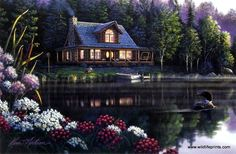 A lone loon makes its way across the lake just outside a log cabin in Kim Norlien's Beside Still Waters.