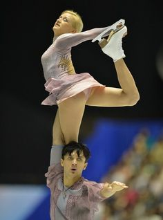 Tatiana Volosozhar (top) and Maxim Trankov (bottom) of Russia perform in the pairs free skating at the World Team Trophy figure skating competition in Tokyo on April 13, 2013.